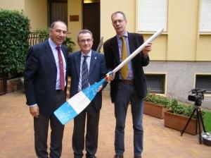 Abbagnale con il Presidente del CUS Decarro e il Rettore del Collegio Cardano Giuseppe Faita