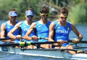 Il 4 senza PL dell'Italia finalista ai Mondiali