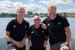 Il 2 senza della Nuova Zelanda assieme al coach Donaldson